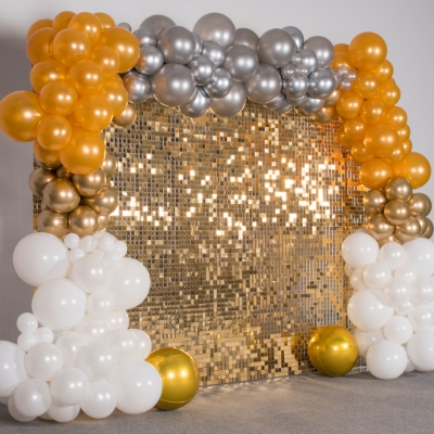 We're loving the new sequin walls from Essex wedding decor company Beebits Balloons