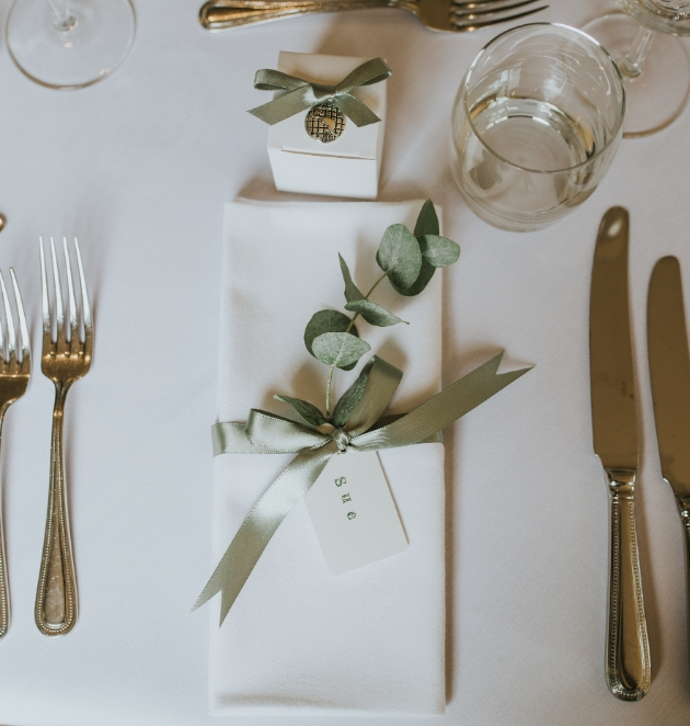 Sage green and white table decoration