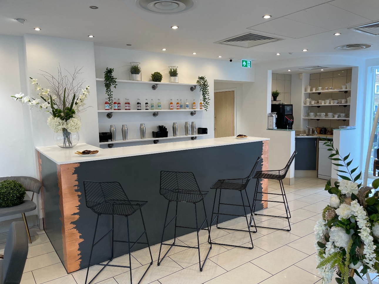 drinks bar in modern styling in salon